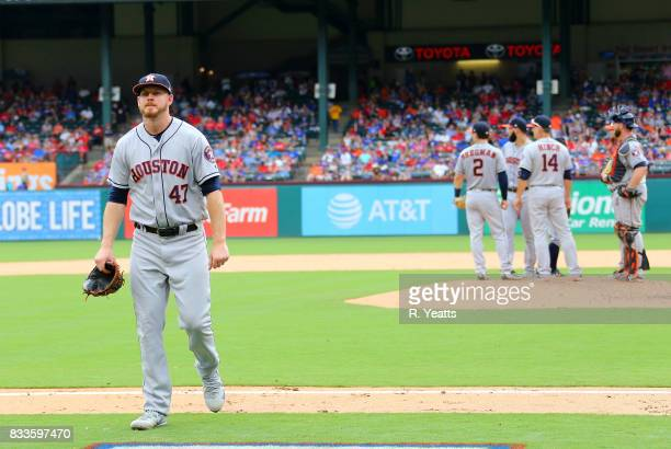 Chris Devenski of the Houston Astros is relieved in the eighth inning against the Texas Rangers at Globe Life Park in Arlington on August 13 2017 in...