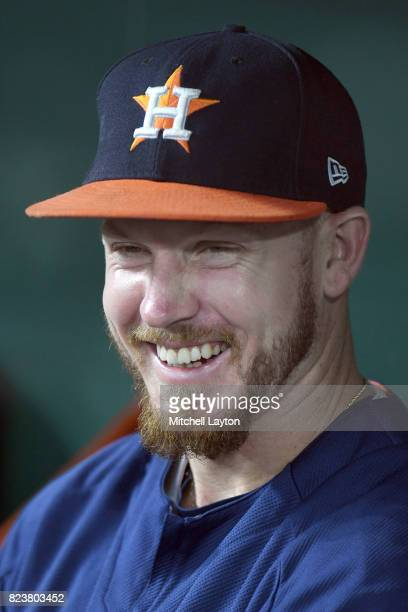 Chris Devenski of the Houston Astros looks on before a baseball game against the Baltimore Orioles at Oriole Park at Camden Yards on July 22 2017 in...