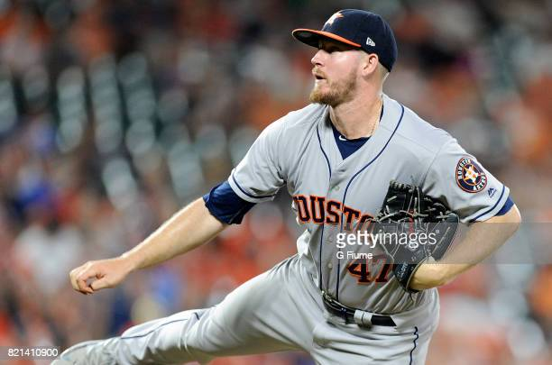 Chris Devenski of the Houston Astros pitches against the Baltimore Orioles at Oriole Park at Camden Yards on July 21 2017 in Baltimore Maryland