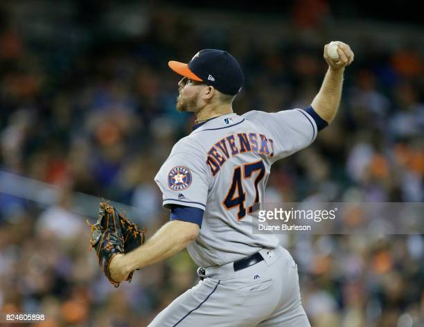 Chris Devenski of the Houston Astros pitches against the Detroit Tigers at Comerica Park on July 28 2017 in Detroit Michigan