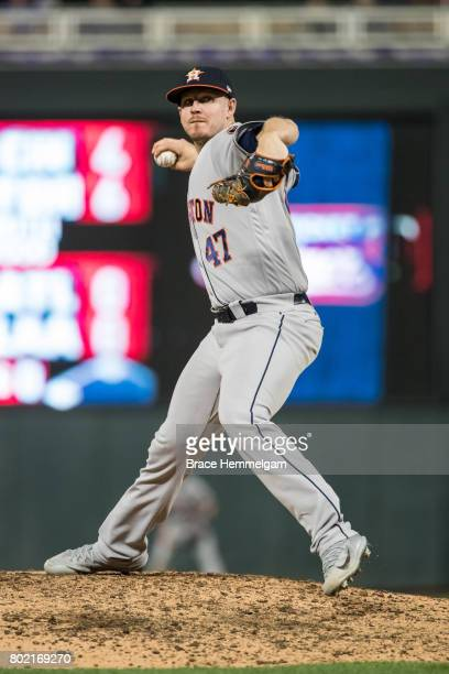 Chris Devenski of the Houston Astros pitches against the Minnesota Twins on May 30 2017 at Target Field in Minneapolis Minnesota The Astros defeated...