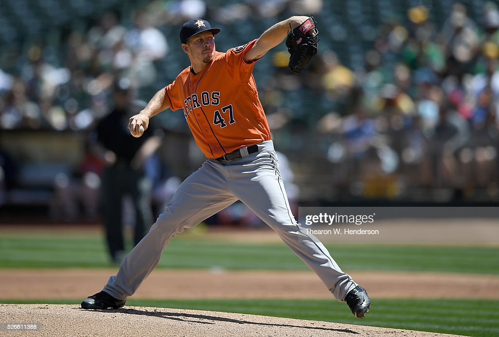 Chris Devenski #47 of the Houston Astros pitches against the Oakland Athletics in the bottom of the first inning at O.co Coliseum on April 30, 2016 in Oakland, California.