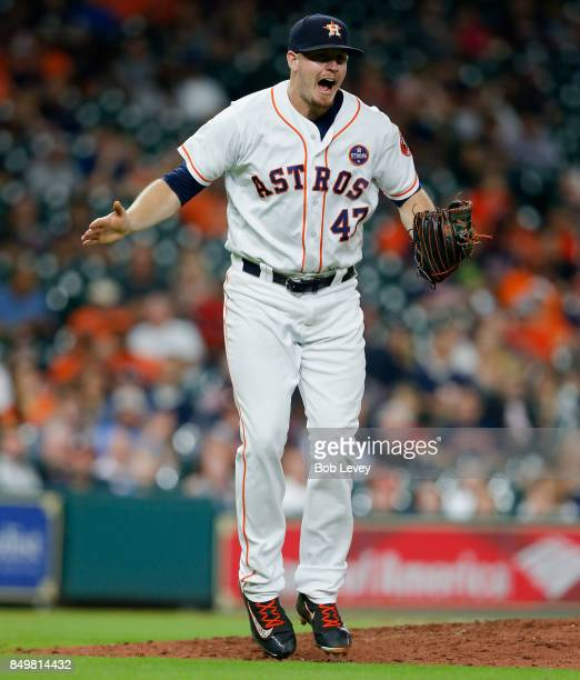 Chris Devenski of the Houston Astros reacts after striking out Matt Davidson of the Chicago White Sox in the eighth inning to retire the side at...
