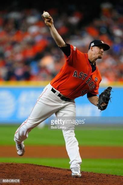 Chris Devenski of the Houston Astros throws a pitch in the sixth inning against the Boston Red Sox during game two of the American League Division...