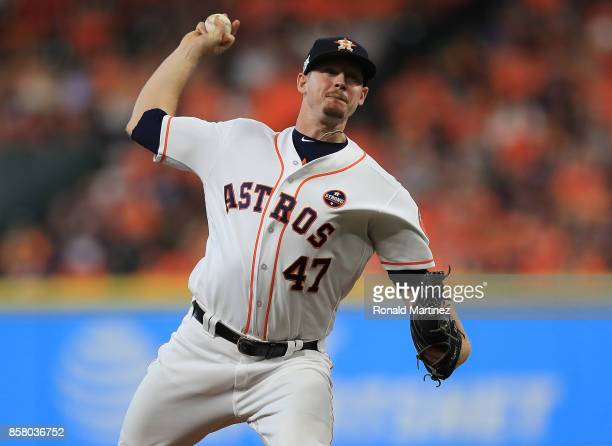 Chris Devenski of the Houston Astros throws against the Boston Red Sox in the seventh inning during game one of the American League Division Series...