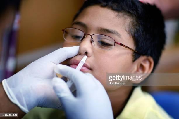 Chris Diaz receives a H1N1 nasal flu spray vaccine from nurse Shajaira PowellBailey at the Broadmoor Elementary school October 19 2009 in Miami...