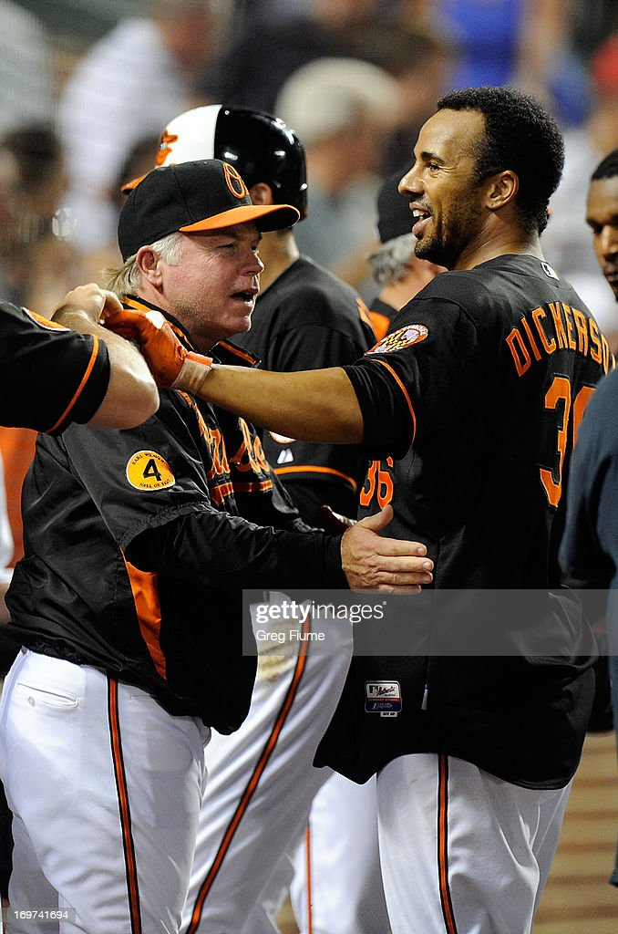 Chris Dickerson #36 of the Baltimore Orioles celebrates with manager <a gi-track='captionPersonalityLinkClicked' href=/galleries/search?phrase=Buck+Showalter&family=editorial&specificpeople=208183 ng-click='$event.stopPropagation()'>Buck Showalter</a> after hitting the game winning home run in the ninth inning against the Detroit Tigers at Oriole Park at Camden Yards on May 31, 2013 in Baltimore, Maryland. Baltimore won the game 7-5.