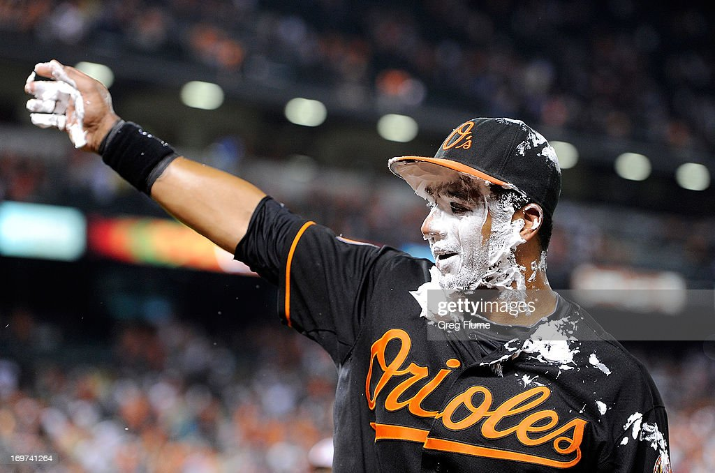 Chris Dickerson #36 of the Baltimore Orioles gets shaving creamed after hitting the game winning home run in the ninth inning against the Detroit Tigers at Oriole Park at Camden Yards on May 31, 2013 in Baltimore, Maryland. Baltimore won the game 7-5.