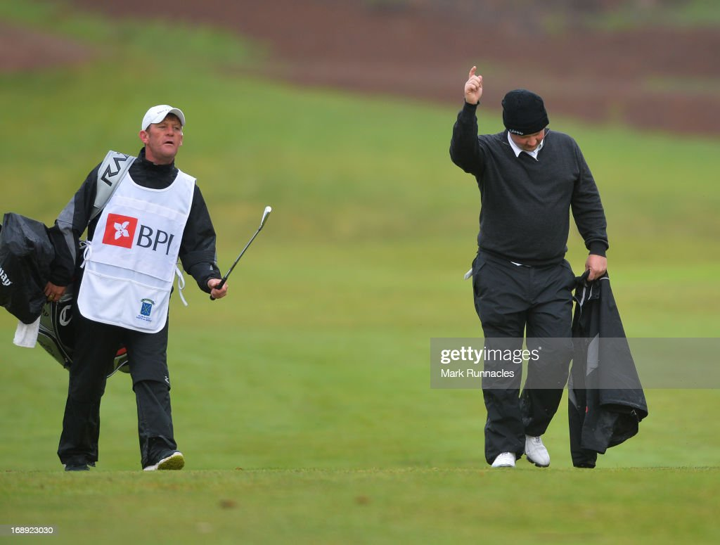 Chris Doak of Scotland receives congratulations after holing out from 180 yards on the 11th hole during Day Two of the Madeira Islands Open - Portugal - BPI at Club de Golf do Santo da Serra on May 17, 2013 in Funchal, Madeira, Portugal.