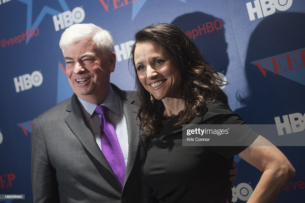 Chris Dodd and <a gi-track='captionPersonalityLinkClicked' href=/galleries/search?phrase=Julia+Louis-Dreyfus&family=editorial&specificpeople=208965 ng-click='$event.stopPropagation()'>Julia Louis-Dreyfus</a> pose for photo during the HBO's 'VEEP' Season 2 Premiere at Motion Picture Association of America on April 11, 2013 in Washington, DC.