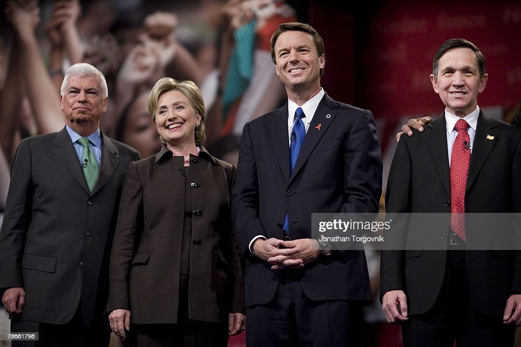 Chris Dodd, <a gi-track='captionPersonalityLinkClicked' href=/galleries/search?phrase=Hillary+Clinton&family=editorial&specificpeople=76480 ng-click='$event.stopPropagation()'>Hillary Clinton</a>, John Edwards and Dennis Kucinich at the Iowa Brown and Black presidential forum debate at north high school December 1, 2007 in Des Moines, IA.