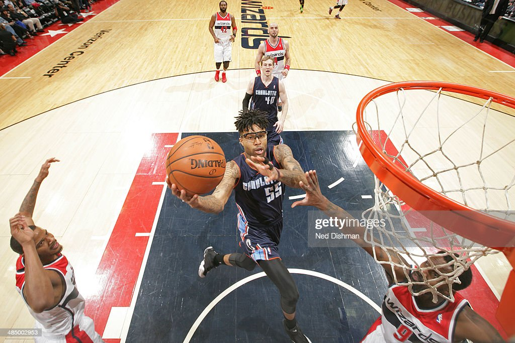 Chris Douglas-Roberts #55 of the Charlotte Bobcats goes up for a shot against the Washington Wizards at the Verizon Center on April 9, 2014 in Washington, DC.