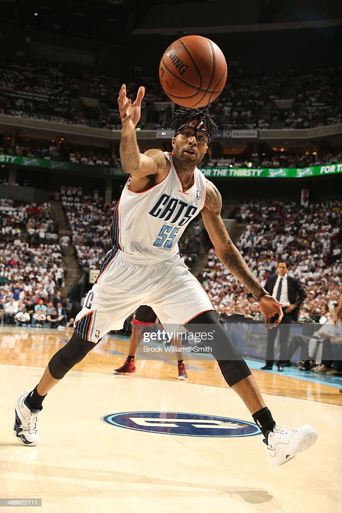 Chris Douglas-Roberts #55 of the Charlotte Bobcats grabs the rebound against the Miami Heat during the game at the Time Warner Cable Arena on April 26, 2014 in Charlotte, North Carolina.