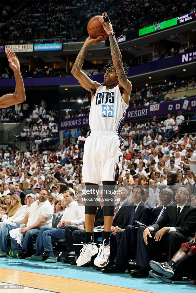 <a gi-track='captionPersonalityLinkClicked' href=/galleries/search?phrase=Chris+Douglas-Roberts&family=editorial&specificpeople=728571 ng-click='$event.stopPropagation()'>Chris Douglas-Roberts</a> #55 of the Charlotte Bobcats shoots against the Miami Heat in Game Three of the Eastern Conference Quarterfinals of the 2014 NBA playoffs at the Time Warner Cable Arena on April 26, 2014 in Charlotte, North Carolina.