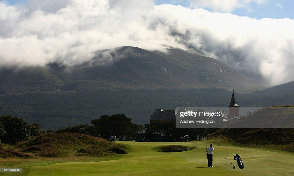 Chris Drumm of Ireland hits his third shot on the ninth hole during the afternoon's play at the Boys Home Internationals at Royal County Down Golf...