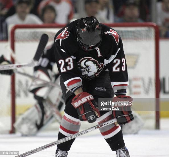 Chris Drury of the Buffalo Sabres blocks a shot during game 4 of the Eastern Conference Semifinals versus the Ottawa Senators at the HSBC Arena in...