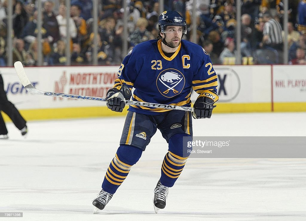Chris Drury of the Buffalo Sabres skates against the New York Islanders during Game 5 of the NHL Eastern Conference Quarterfinals on April 20 2007 at...