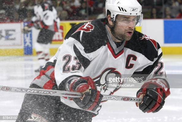 Chris Drury of the Buffalo Sabres skates against the Ottawa Senators in game one of the Eastern Conference Semifinals during the 2006 NHL Stanley Cup...