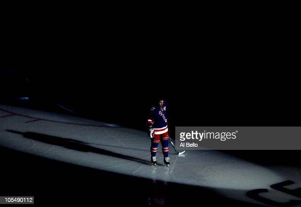 Chris Drury of the New York Rangers is introduced against the Toronto Maple Leafs during their game on October 15 2010 at Madison Square Garden in...