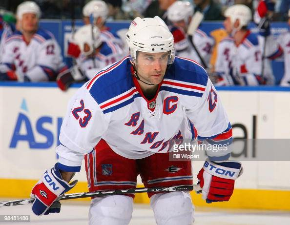 Chris Drury of the New York Rangers prepares for a faceoff against the Buffalo Sabres on April 6 2010 at HSBC Arena in Buffalo New York