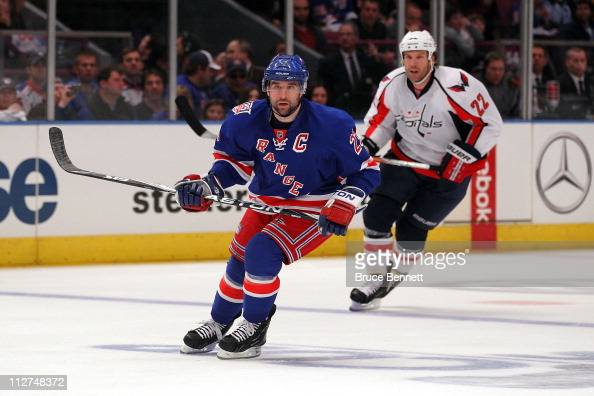 Chris Drury of the New York Rangers skates against Mike Knuble of the Washington Capitals in Game Three of the Eastern Conference Quarterfinals...