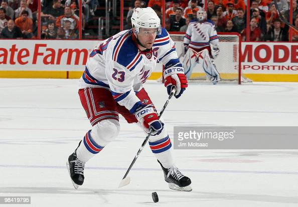 Chris Drury of the New York Rangers skates against the Philadelphia Flyers on April 11 2010 at Wachovia Center in Philadelphia Pennsylvania The...