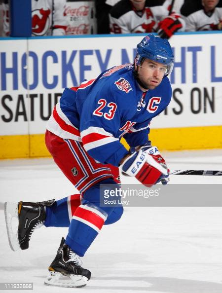 Chris Drury of the New York Rangers skates in the second period against the New Jersey Devils on April 9 2011 at Madison Square Garden in New York...
