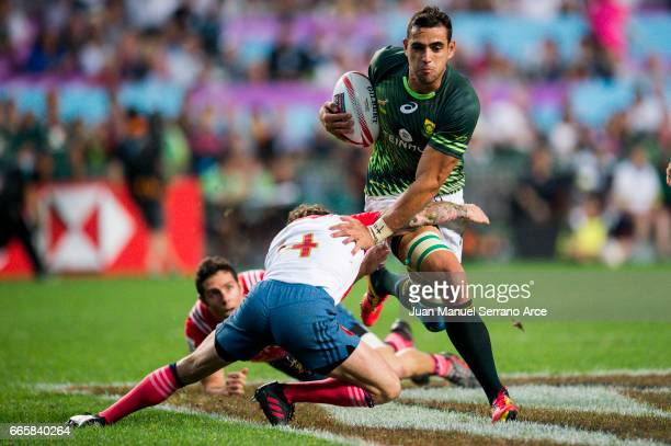 Chris Dry of South Africa competes during the 2017 Hong Kong Sevens match between South Africa and France at Hong Kong Stadium on April 7 2017 in...
