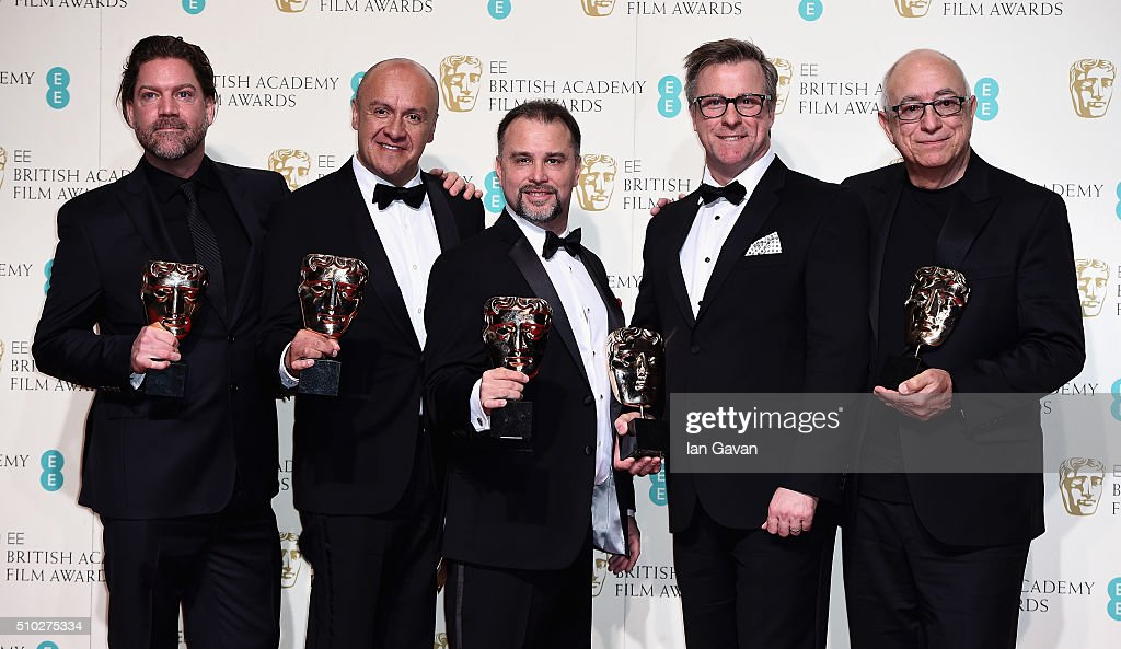 Chris Duesterdiek Martin Hernandez Frank A Montano Jon Taylor and Randy Thom winners of the Sound award for 'The Revenant' pose in the winners room...