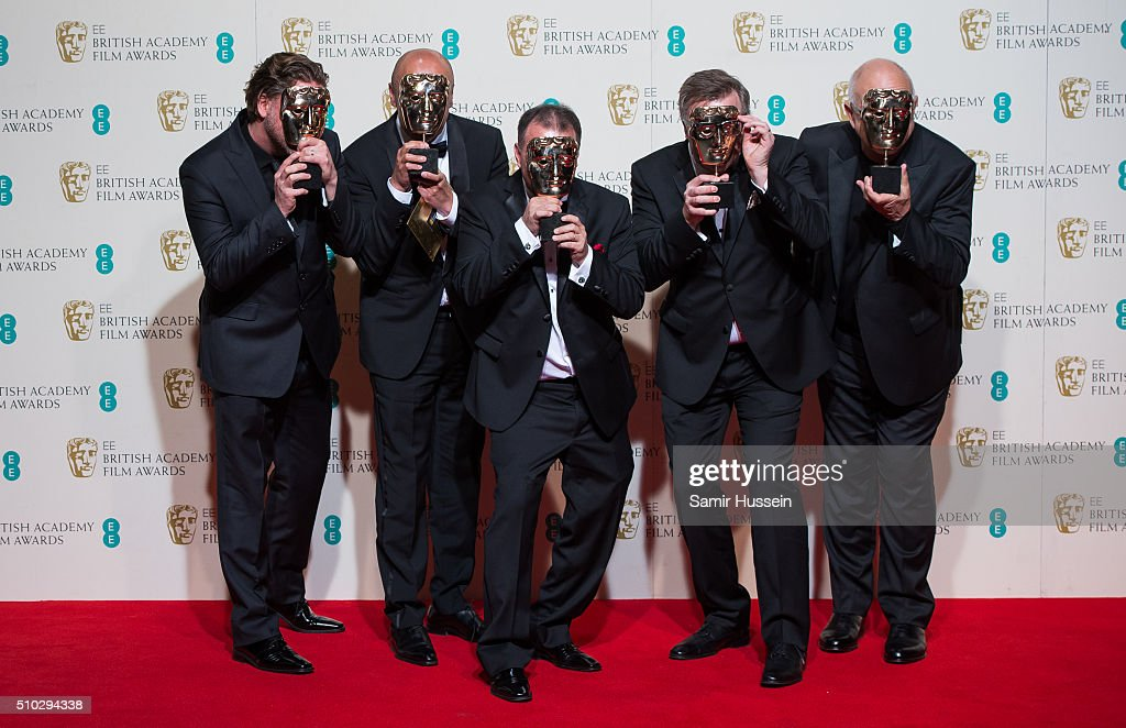 Chris Duesterdiek Martin Hernandez Frank A Montano Jon Taylor and Randy Thom pose in the winners room at the EE British Academy Film Awards at The...
