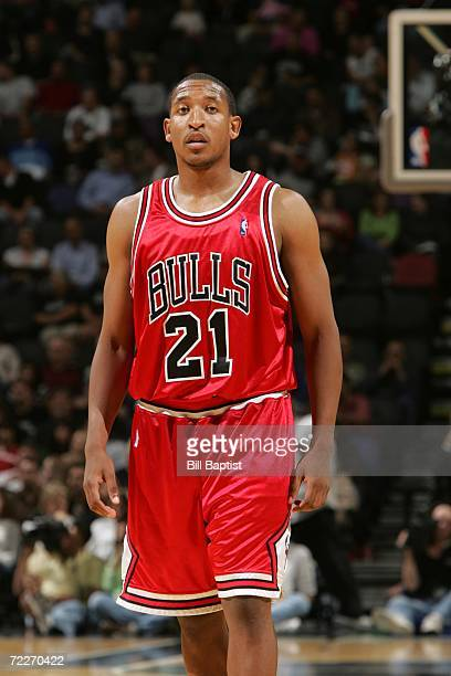 Chris Duhon of the Chicago Bulls is on the court during the preseason game against the San Antonio Spurs at the ATT Center on October 19 2006 in San...