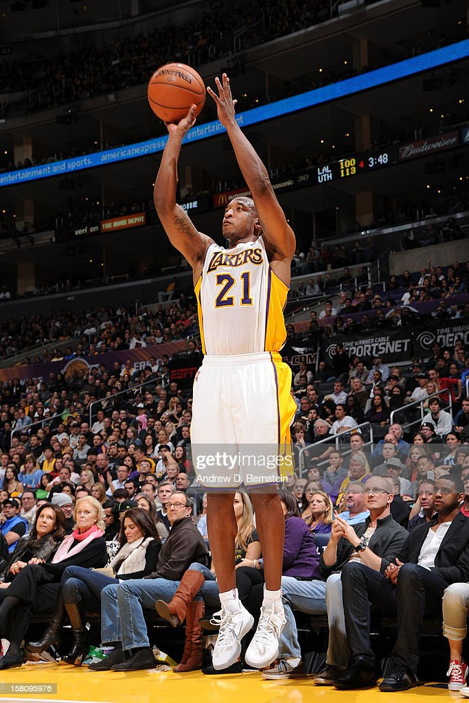 <a gi-track='captionPersonalityLinkClicked' href=/galleries/search?phrase=Chris+Duhon&family=editorial&specificpeople=202879 ng-click='$event.stopPropagation()'>Chris Duhon</a> #21 of the Los Angeles Lakers shoots against the Utah Jazz at Staples Center on December 9, 2012 in Los Angeles, California.