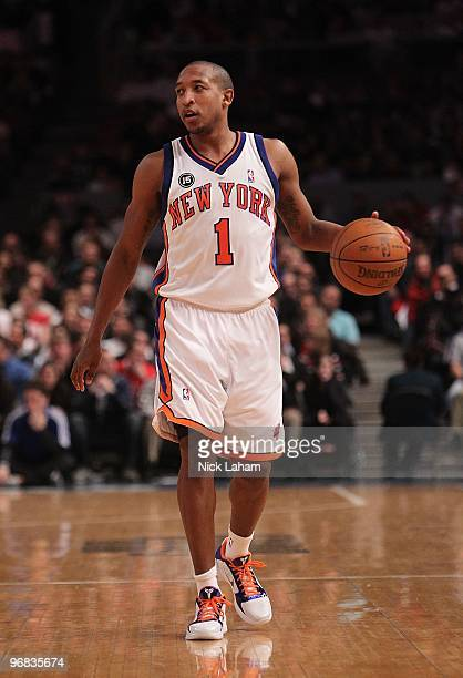 Chris Duhon of the New York Knicks dribbles against the Chicago Bulls at Madison Square Garden on February 17 2010 in New York New York NOTE TO USER...