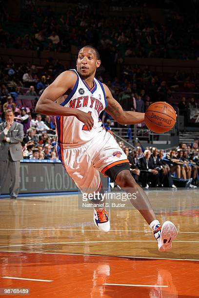 Chris Duhon of the New York Knicks drives the ball against the Washington Wizards during the game at Madison Square Garden on April 12 2010 in New...