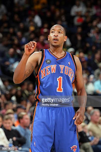 Chris Duhon of the New York Knicks looks on during the game against the Golden State Warriors at Oracle Arena on April 2 2010 in Oakland California...