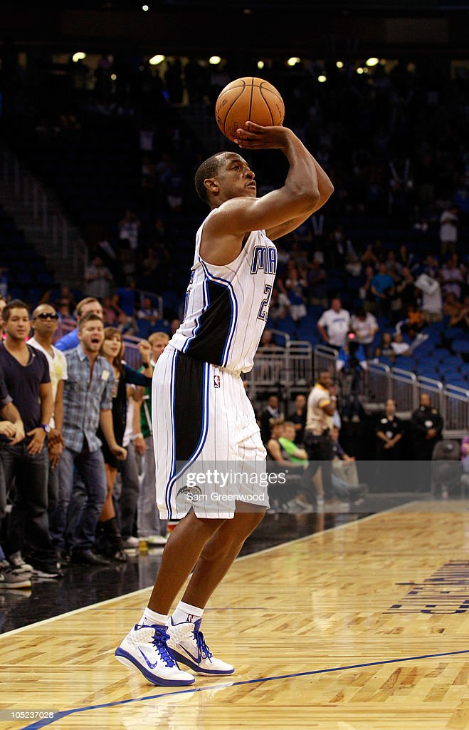 <a gi-track='captionPersonalityLinkClicked' href=/galleries/search?phrase=Chris+Duhon&family=editorial&specificpeople=202879 ng-click='$event.stopPropagation()'>Chris Duhon</a> #25 of the Orlando Magic attempts a shot during the game against the New Orleans Hornets at Amway Arena on October 10, 2010 in Orlando, Florida.