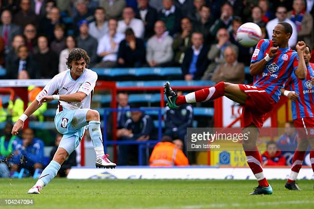 Chris Eagles of Burnley shoots at goal during the Npower Championship match between Crystal Palace and Burnley at Selhurst Park on September 18 2010...