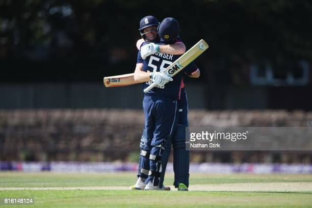 Chris Edwards hugs Dan Bowser of England after they win the INAS Learning Disability TriSeries Trophy match between England and Australia on July 17...
