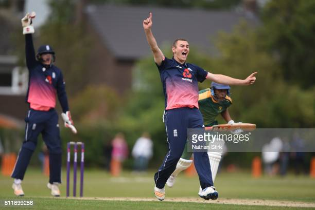 Chris Edwards of England appeals during the INAS Learning Disability TriSeries Trophy match against England and South Africa at Chester Boughton Hall...