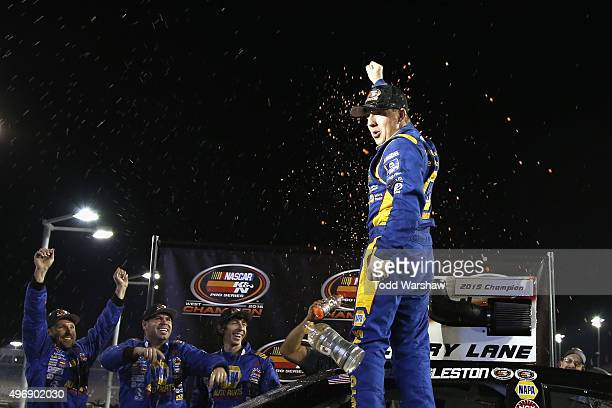 Chris Eggleston driver of the NAPA Filters Toyota celebrates after winning the 2015 series championship following the NASCAR KN Pro Series West...