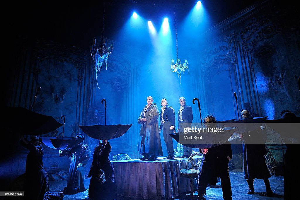 Chris Ellison as Magwich, Taylor Jay-Davies as Young Pip and Paul Nevison as Adult Pip pose during a photcall for 'Great Expectations' at Vaudeville Theatre on February 4, 2013 in London, England.