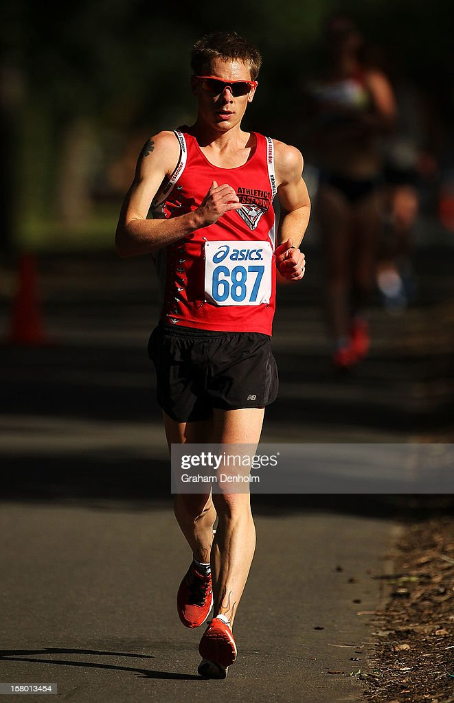 Chris Erickson of Victoria competes in the Mens 50000 metre Race Walk Championship Open during the 50km race walking championships at Fawkner Park on December 9, 2012 in Melbourne, Australia.