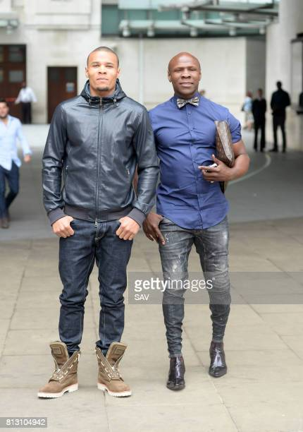 Chris Eubank and Chris Eubank jnr sighting at The BBC on July 12 2017 in London England