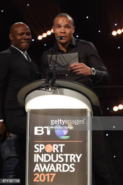 Chris Eubank and Chris Eubank Jr present the Best Use of PR award in association with Getty Images during the BT Sport Industry Awards 2017 at...