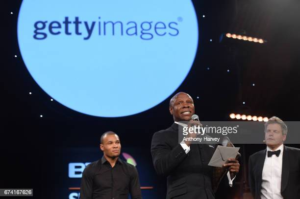 Chris Eubank and Chris Eubank Jr with Mark DurdenSmith present the Best Use of PR award in association with Getty Images during the BT Sport Industry...