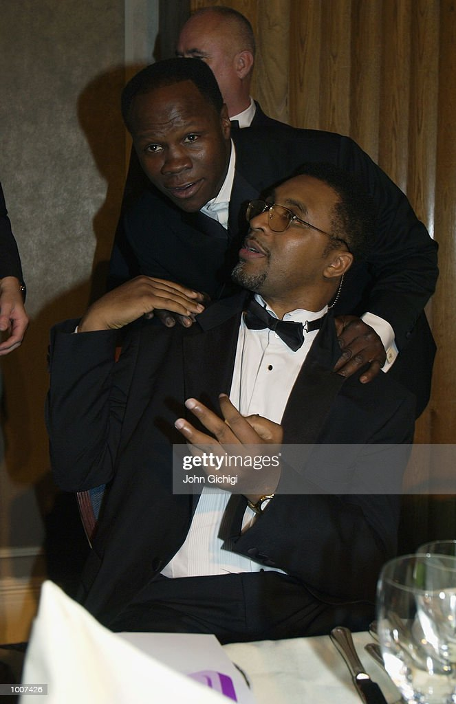 Chris Eubank and Michael Watson together during the Michael Watson Testimonial Evening at the Le Meridien Grosvenor House on July 8, 2002.