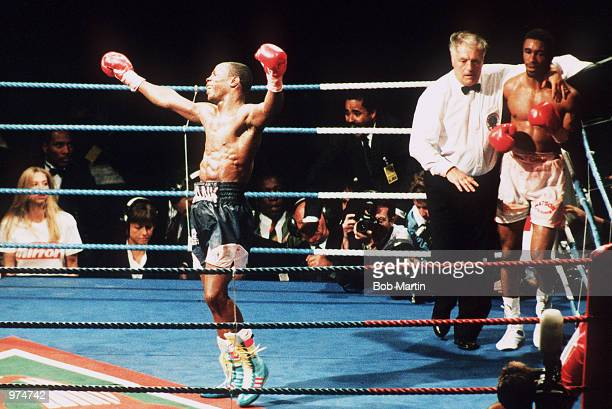 Chris Eubank celebrates his victory against Michael Watson in their second WBO Middleweight title fight at White Hart Lane London 21st September 1991...