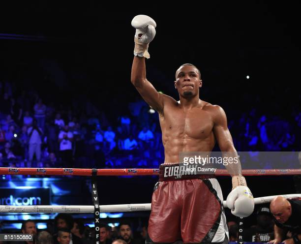 Chris Eubank Jnr acknowledges the crowd after his bout against Arthur Abraham for the IBO World World Super Middleweight title at Wembley Arena on...