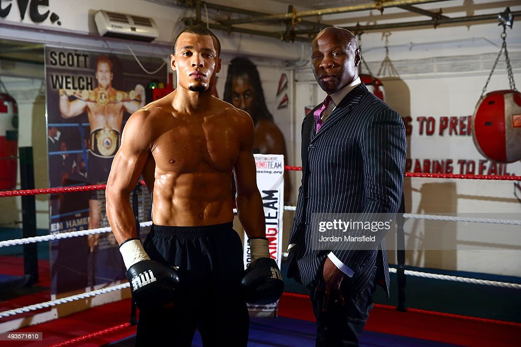 <a gi-track='captionPersonalityLinkClicked' href=/galleries/search?phrase=Chris+Eubank&family=editorial&specificpeople=216217 ng-click='$event.stopPropagation()'>Chris Eubank</a> Jnr (L) and his father <a gi-track='captionPersonalityLinkClicked' href=/galleries/search?phrase=Chris+Eubank&family=editorial&specificpeople=216217 ng-click='$event.stopPropagation()'>Chris Eubank</a> (R) pose for a photo during a media workout at Cheetahs Gym on October 21, 2015 in Brighton, England.
