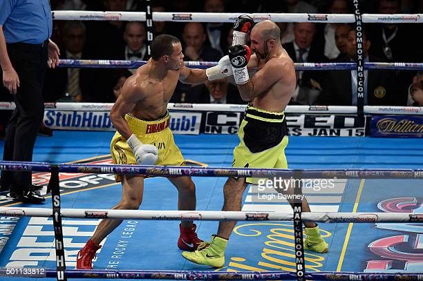 Chris Eubank Jnr in boxing action against Gary O'Sullivan during the WBA Middleweight Championship Eliminator at The O2 Arena on December 12 2015 in...
